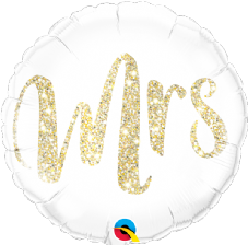 Gold Glitter 'Mrs' Foil Helium Balloon